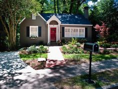 gray exterior, red door, dark shutters for-the-home- i'd like it a little lighter but I love these colors together