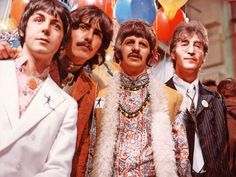 Sgt. Pepper and Magical Mystery Tour brought psychedelia to the forefront with neon military regalia, wild paisleys, beads, thin chains, moustaches and acid. #fashion #thebeatles