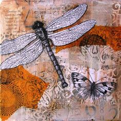 Dragonfly - mixed media collage painting - Cloth Paper Scissors