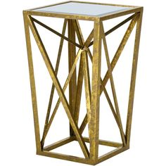Madison Park Megan Gold Mirrored Console Table ($100) ❤ liked on Polyvore featuring home, furniture, tables, accent tables, mirrored console table, mirrored accent table, eglomise furniture, gold furniture and gold mirrored table