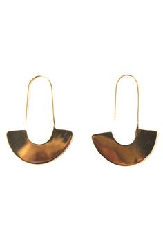 """Adisa Earrings from Meyelo's Brass Collection. Handcrafted in Kenya by local artisans. MATERIALS: All materials are raw, up cycled and locally sourced in Kenya. - Hand cast - Brass - 1.75"""" L x 1.25"""" W"""
