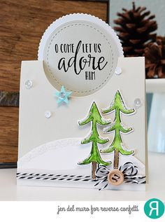 Card by Jen del Muro. Reverse Confetti stamp set: Christmas Blessings. Confetti Cuts: Pop Up Circle, Detailed Circles. Edgers, and Merry Christmas (trees). RC cardstock: Stone and Cloud White. Christmas card. Winter card. Holidays card.