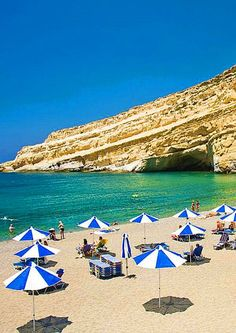 Matala Beach in Crete, Greece. - Selected by www.oiamansion.com