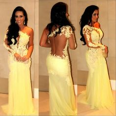 Pale yellow lace evening gown