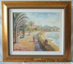 Original Hugues Claude Pissarro Oil Painting FRENCH RIVIERA Cityscape  12 of 17 Major Modern Artworks Prof Emeritus Collection