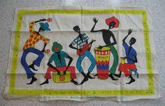 Ruth Clarage's Jamaica souvenir linen tea towel ca 1960's.