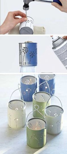Tiin Can Lanterns - DIY Garden Lighting Ideas - fill with tea lights or flowers, depending on your event! Tiin Can Lanterns - DIY Garden Lighting Ideas - fill with tea lights or flowers, depending on your event! Diy Candles, Tea Light Candles, Tea Lights, Ball Lights, Party Lights, Tealight Candle Holders, Tin Can Crafts, Fun Crafts, Diy And Crafts