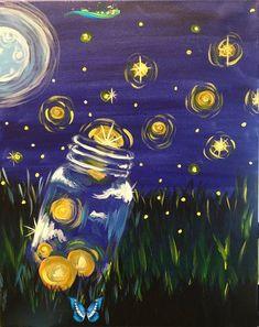 Fireflies Fireflies<br> Cute Canvas Paintings, Simple Acrylic Paintings, Mini Canvas Art, Acrylic Painting Canvas, Moon Painting, Yellow Painting, Firefly Painting, Firefly Art, Firefly Serenity