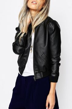 Black PU Leather Stand Collar Coat