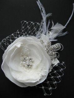 ivory floral rhinestone fascinator | Ivory flower Bridal lace wedding hair accessory rhinestone fascinator ...