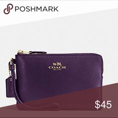 "NWT 🌟COACH Crossgrain Leather Corner Zip Wristlet ""Aubergine"" crossgrain leather with gold tone hardware. Bags Clutches & Wristlets"