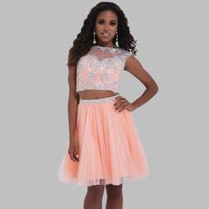 Two Piece Homecoming Dresses Light Sky Blue Cap Sleeves Sparkly Beaded Orange Graduation 8th Grade Sweet 15 Short Party Gowns