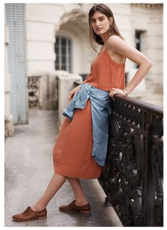 denim shirt with cami dress and oxfords from madewell, spring 2015