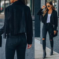 """VICIDOLLS on Instagram: """"PREORDER SHIPPING TOMORROW // ALMOST SOLD OUT Walford Cropped Fringe Faux Suede Jacket - Black $98 Sizes S - L Don't miss out on your…"""" Hockey Outfits, Winter Outfits, Casual Outfits, Fringe Jacket, Suede Jacket, Black Suede, Skinny Jeans, My Style, Jackets"""