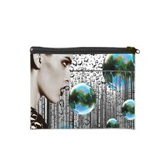 """Bubble White/Black 7"""" x 5"""" Cosmetic Bag 