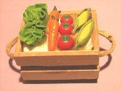 Vegetables in wooden crate.