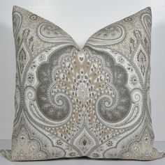 Kravet Paisley Limestone Pillow Cover  Decorative by WilmaLong, $46.00