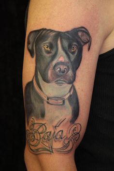 Amazing dog tattoo. You can see the dog's love!