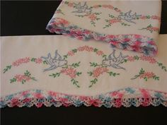 Beautiful vintage pillowcases Great gift   www.newyorkvintagelinens.com