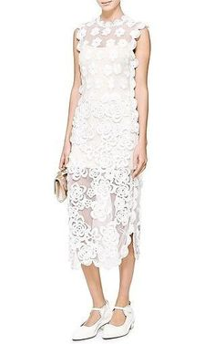 Simone Rocha HAND-CROCHETED AND EMBROIDERED SLEEVELESS SHEATH DRESS