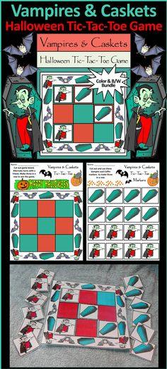 Vampires & Caskets Halloween Tic-Tac-Toe Game Activity: This printable Halloween Tic-Tac-Toe Game activity packet contains all the necessary components for playing the classic game. All pieces are decorated with comic vampires and creepy caskets. Print on heavy cardstock and/or laminate for greater durability. Great fun as a game or party favor!  #Halloween #Vampire #Party #Game #Activities #Teacherspayteachers