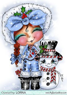 Sherri baldy image I digitally coloured Christmas Rock, Christmas Colors, China Painting, Tole Painting, Cute Images, Cute Pictures, Big Eyes Artist, Candy Cards, Christmas Drawing