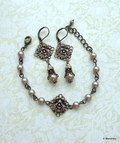 Bracelet and Earrings Set. Antiqued Copper Filigree, Swarovski Powder Almond Pearls Earrings. Bridesmaid Gift. Vintage Style. Maid Of Honor