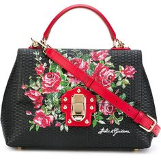 Dolce & Gabbana Lucia tote ($1,448) ❤ liked on Polyvore featuring bags, handbags, tote bags, black, floral leather handbags, leather tote purse, tote purses, leather tote bags and top handle handbags