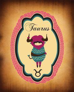 TAURUS Zodiac Sign / Indie Art Original Taurus by ParadaCreations