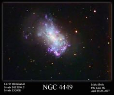 "NGC 4449 (also known as Caldwell 21) is an irregular galaxy in the constellation Canes Venatici. It is located about 12 million light-years away, part of the M94 Group (the Canes Venatici I Group), a galaxy group relatively close to the Local Group containing the Milky Way. Note the ""River of Stars"" surrounding this dwarf galaxy."