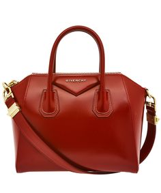 #Givenchy Small Red Antigona Smooth Leather Tote Bag