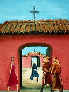 "Saatchi Online Artist: William Cain; Oil, 2013, Painting ""SANTA FE CHURCH"""