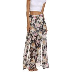 Chigant Women's Floral Print Chiffon Summer Beach Wrap Split Long Maxi Skirt