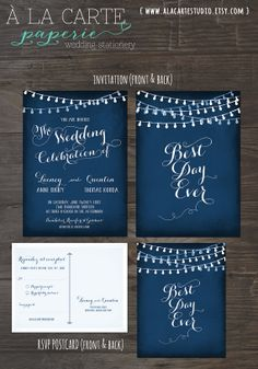 Best Day Ever String Light Navy or Eggplant or Chalkboard Wedding Invitation Card and RSVP