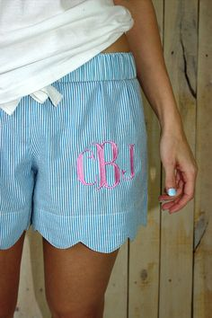 Monogrammed Shorts Seersucker Scalloped Lounge Shorts Womens Blue
