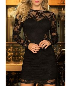 Sexy Black Hollow Out Long Sleeve Backless Bodycon Lace Dress For Women