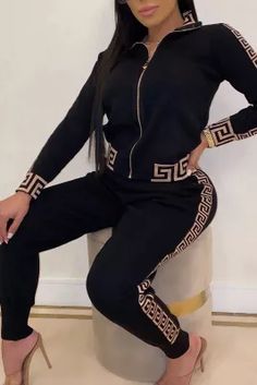 Black Polyester Fashion adult Casual Two Piece Suits Zippered Solid Patchwork Print pencil Long Sleeve Origin Clothing, Red Clothing, Wholesale T Shirts, Wholesale Clothing, Pantalon Costume, Mode Costume, Two Piece Pants Set, Two Piece Sets, Black Two Piece