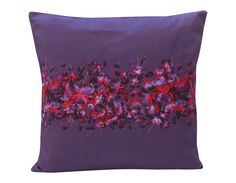 Fucshia Design Cushion, purple, cotton canvas, made in Britain