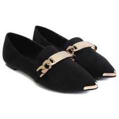 Casual Trendy Suede Women's Flat Shoes With Metal and Point Head Design