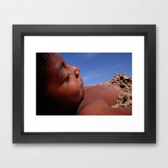 Wittos (Blue) Little Indian Sand Boy  Framed Art Print by David Hernández-Palmar - $32.00