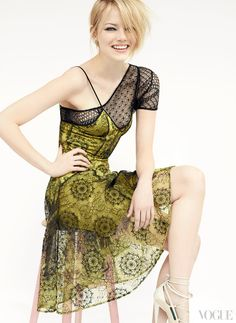 Laugh – emma stone, vogue july 2012, yellow dress with black lace, photographer mario testino