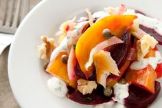 Beet Salad by Chow. This recipe for beet salad is a bright medley of roasted beets, fennel, capers, and walnuts tossed in a lemon vinaigrette and drizzled with crème fraîche. Winter Root Vegetables, Frozen Vegetables, Root Veggies, Sweet Corn Cakes, Beet Salad Recipes, Cold Dishes, Winter Salad, Roasted Beets, Creative Food