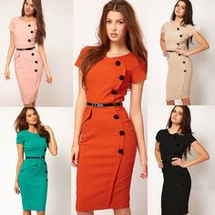 Womens Bodycon Fitted Party Pencil Vintage Rockabilly Pinup Shift Sheath Dress