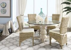 Cindy Crawford Home Key West Sand 5 Pc Round Dining Room with Rattan Chairs-Dining Room SetsLight Wood