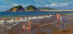 Ricardo Sanz – Niños en la orilla Óleo sobre lienzo. 40×85 cms.