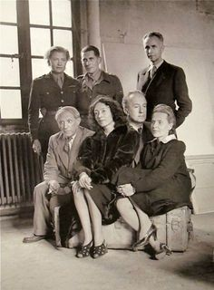 1944. Lee Miller, Roland Penrose and Louis Aragon:  sitting: Picasso, Nusch Eluard.  Paul Eluard, and Elsa Triolet.  Picasso's Studio, Rue des Grands Augustins, Paris