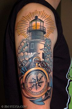 lighthouse tattoo that would make an awesome thread drawing on a quilt!