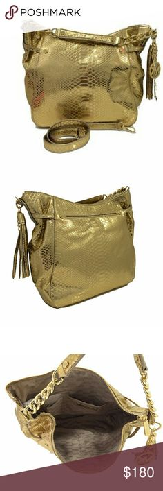 Michael Kors Gold Embossed Leather Purse! Over the shoulder or can be a hand bag!  Great condition, only used a couple of times....bright gold color!  Love this!! Bags Crossbody Bags