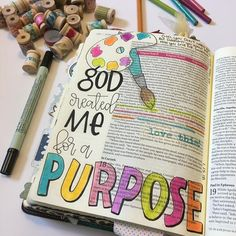 Some purpose is easy to define because it's all laid out for us in Scripture, other purposes. I can cling to these truths though! Bible Journaling For Beginners, Bible Study Journal, Scripture Study, Bible Art, Scripture Journal, Bible Doodling, Faith Bible, Bible Scriptures, Bible Studies
