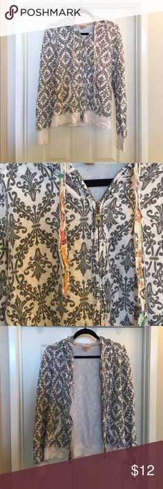 Perfect hoodie Mossimo zip up hoodie with awesome dark gray print and bright floral drawstrings. Very well cared for great condition. Super cozy. Pockets in front. Mossimo Supply Co Tops Sweatshirts & Hoodies